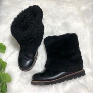 UGG | Black Leather & Sheepskin Fur Boots Warm